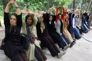 Iranian Women Doing Morning-Exercise in a Park