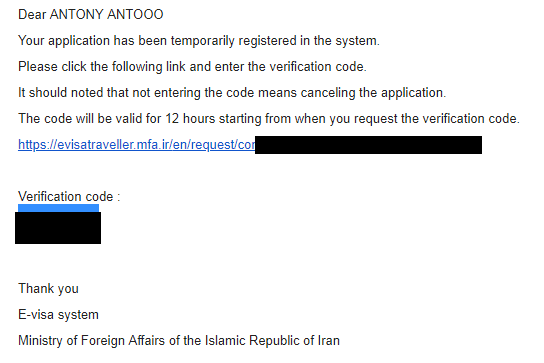 Iran evisa application email