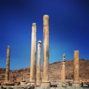 Pillars of Persepolis within the 125,000 square meter site.