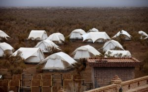 Powered tents/ campsite in the Matin Abad ecologically certified complex in Isfahan Province, central Iran.