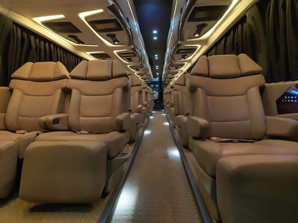 The inside of the Iranian bus cabin