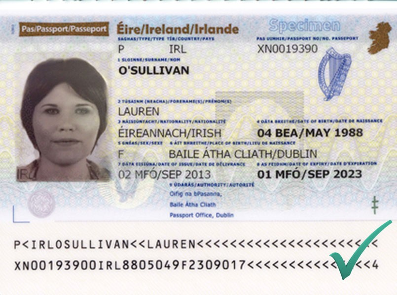 Sample passport scan